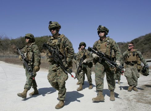 U.S. marines equipped with MILES take part in a military operation in Pocheon