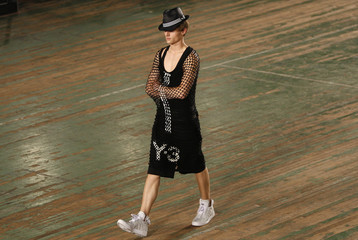A model presents a creation from Y-3 during the Spring 2010 show at the Uptown Armory during New York Fashion Week