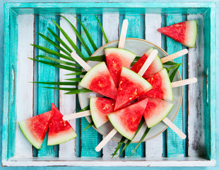 Watermelon slices on a plate. Top view.