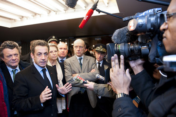 France's President Sarkozy speaks to the press in Bordeaux, south-western France