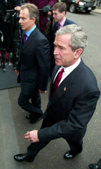 U.S PRESIDENT BUSH CROSSES DOWNING STREET WITH BRITAIN'S PRIME MINISTERBLAIR IN LONDON.