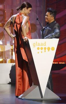 Actors Walsh and Mapa present an award at the 20th GLAAD Media Awards in Los Angeles