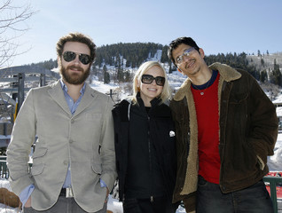 Danny Masterson, Anna Faris and Gregg Araki pose during a photo-call for the movie Smiley Face during the 2007 Sundance Film Festival in Park City