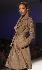 A model presents a creation by Tracy Reese during the Spring/Summer 2009 collection during New York Fashion Week