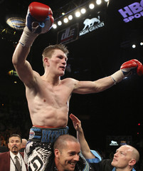 Hatton of Britain celebrates his victory over Malignaggi of U.S. after junior welterweight bout in Las Vegas