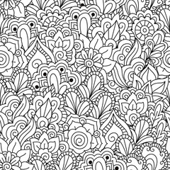 Round element for coloring book. Black and white floral pattern.