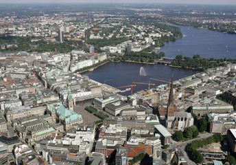 Aerial view of Hamburg city center with lake Alster.