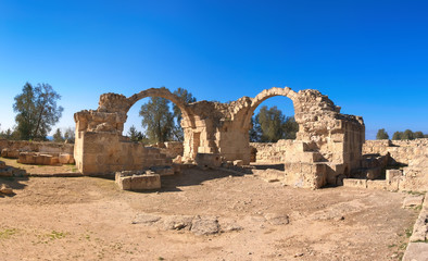 Wall Mural - Ancient Roman arches in Paphos archaeological park, Pafos,Cyprus