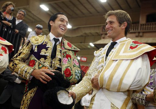 """Alfredo Rios of Mexico and Julio Benitez of Spain laugh before being introduced during """"Toros Las Vegas 2009"""" at the South Point hotel-casino in Las Vegas"""