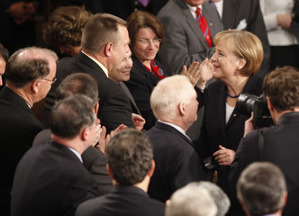 German Chancellor Angela Merkel addresses a joint session of Congress in Washington
