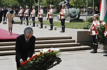 Prince Akishino and Princess Kiko of Japan lay a wreath at the monument of the Unknown Soldier in Sofia