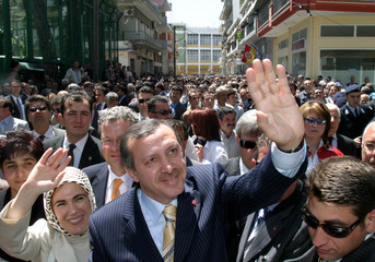 TURKISH PRIME MINISTER ERDOGAN VISITS KOMOTINI IN GREECE.