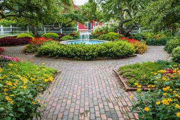 Winding pathway and fountain in beautiful Portsmouth Garden