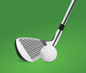 Golf stick and ball vector