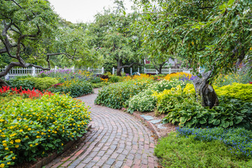Winding pathway in beautiful Portsmouth Garden