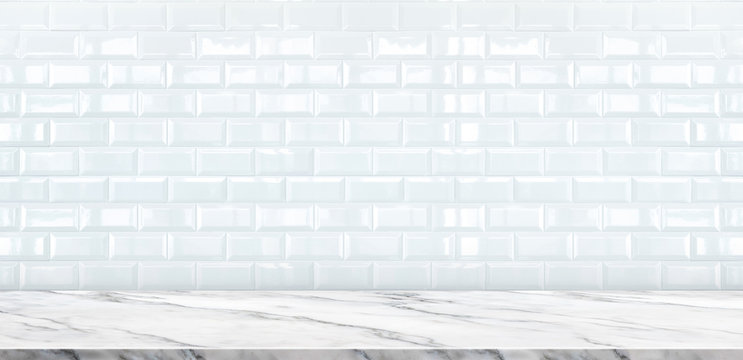 Empty white marble table top with white ceramic tile wall background,Mock up banner ads size for display or montage of product or your design ,Luxury modern theme