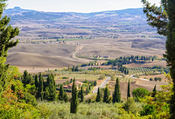 View from the city walls of the autumn countryside around Pienza in Tuscany, Italy
