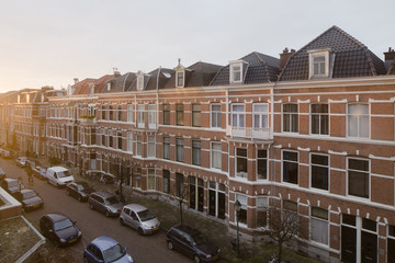 houses in sunset in the hague
