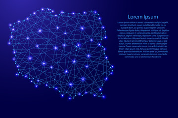 Map of Poland from polygonal blue lines and glowing stars vector illustration