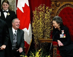 CANADIAN PRIME MINISTER MARTIN LAUGHS WITH GOVERNOR GENERAL CLARKSON PRIOR TO SPEECH FROM THE THRONE.