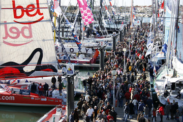 Hundreds of visitors queue to visit the fleet of the Vendee Globe Challenge sailing race at Les Sables d'Olonne, on France's Atlantic coast