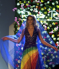 A model for Renato Balestra displays a garment on the catwalk during the final day of the Rome sprin..