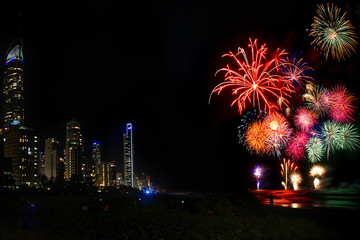 Fireworks Over Surfers Paradise Beach