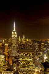 New York City Night Skyline from Top fo The Rock, USA