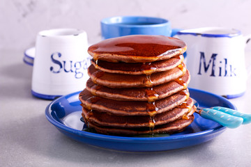 Pile of stout and chocolate pancakes