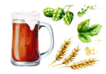 Beer, malt and hops set. Watercolor