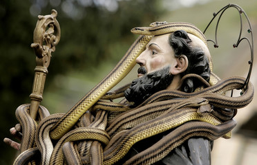 A St. Domenico statue is covered with snakes at the beginning of the St. Domenico's procession in Cocullo