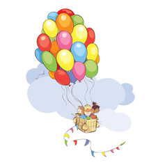Bright travel / Vector illustration, Children travel in a Hot Air Balloon made of colored balloons flying in the sky