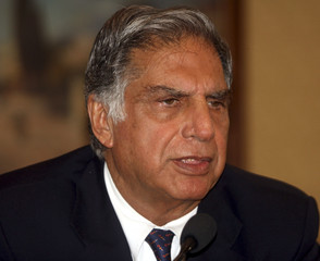 Ratan Tata, chairman of the Tata Group, speaks during a news conference in Kolkata