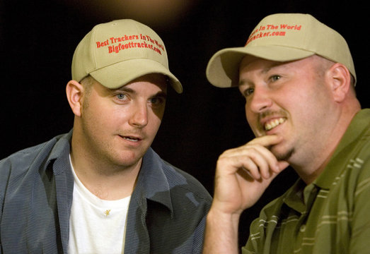 Rick Dyer and Matt Whitton, who both claim to have the corpse of Bigfoot, hold a news conference in Palo Alto