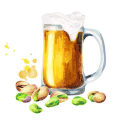 Beer and pistachio nuts. Watercolor