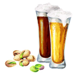 Beers and pistachio nuts. Watercolor