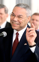 US SECRETARY OF STATE COLIN POWELL GESTURES IN JAKARTA.