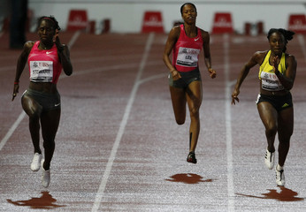 Stewart of Jamaica runs to win in the women's 200 metres during the Super Grand Prix athletics meeting at the Stade Olympique in Lausanne