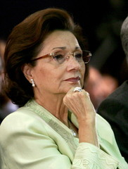 Egypt's First Lady Suzan Mubarak attends the closing session of the World Economic Forum on the Midd..