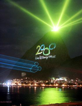 DISNEY MILLENNIUM LOGO DISPLAYED ACROSS SUGAR LOAF MOUNTAIN IN RIO.