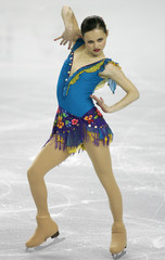 Sasha Cohen of the US performs at the World Figure Skating Championships in Calgary
