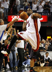 Miami Heat guard Wade celebrates win against New Jersey Nets during NBA second round playoff series game in Florida