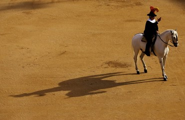 "Spanish ""alguacil"" salutes before the start of a bullfight during the ""San Isidro"" bullfighting fair ..."