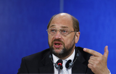S&D chairman Schulz addresses a news conference at the EU Parliament in Brussels