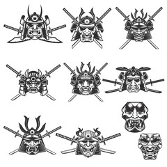 Set of samurai masks and helmets with swords on white background. Design elements for logo, label, emblem, sign. Vector illustration