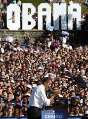 US Democratic presidential nominee Senator Barack Obama (D-IL) speaks at a campaign rally at Ault Park in Cincinnati, Ohio