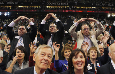 """The Republican crowd chants """"zero experience"""" at the 2008 Republican National Convention in St. Paul"""