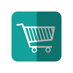 shopping cart icon over turquoise square and white background. vector illustration