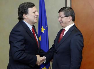 EU Commission President Barroso welcomes Turkey's FM Davutoglu before meeting in Brussels