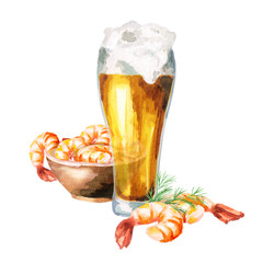 Beer and shrimps, watercolor